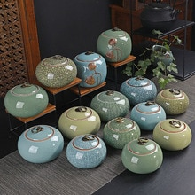 Porcelain Tea Caddy Tea Leaf Box Portable Sealed Storage Jar Storage Tank Ice Crack Ceramic Crafts Kitchen Teaware Home Decor