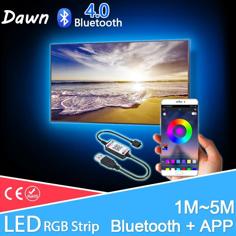 La música de Bluetooth RGB tira de LED 5V USB TV LED luces de tira de SMD2835 5050 5M 4M 3M 2M 1M 0,5 M de neón LED Flexible tira de TV de fondo