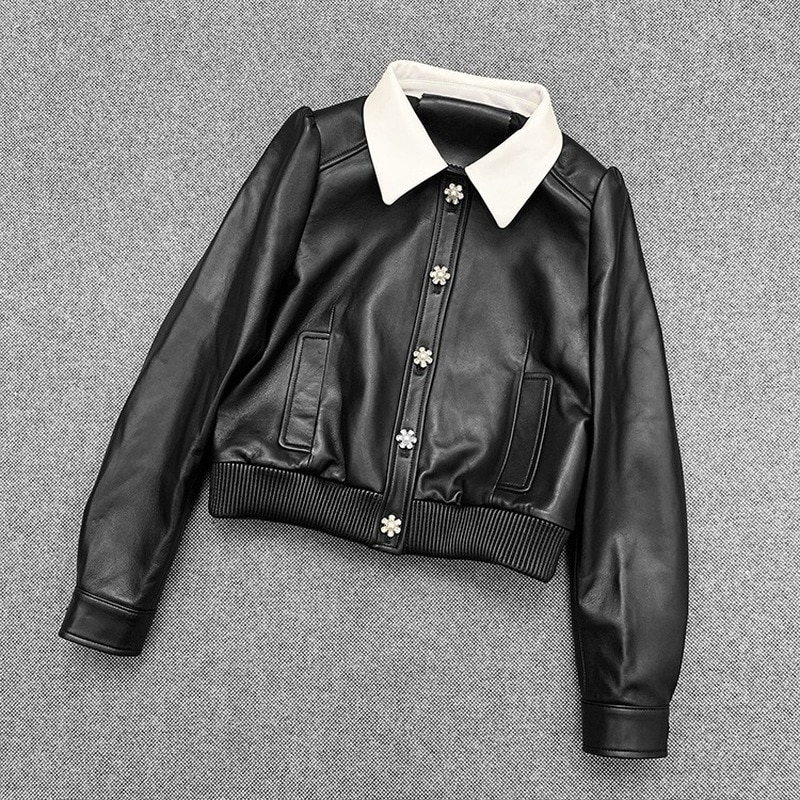 Autumn Spring Black Real Leather Clothes Suits Jackets Womens Sheepskin Genuine Overcoat Korean Sweet Jacket Coats Outerwear