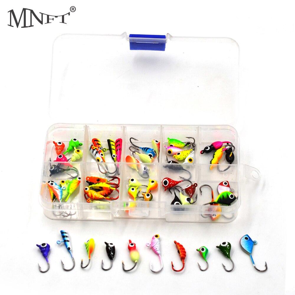 MNFT 54 Uds./caja de Mini plomo de invierno, anzuelo de Pesca, Señuelos de Pesca en hielo para Lucio de trucha Walleye