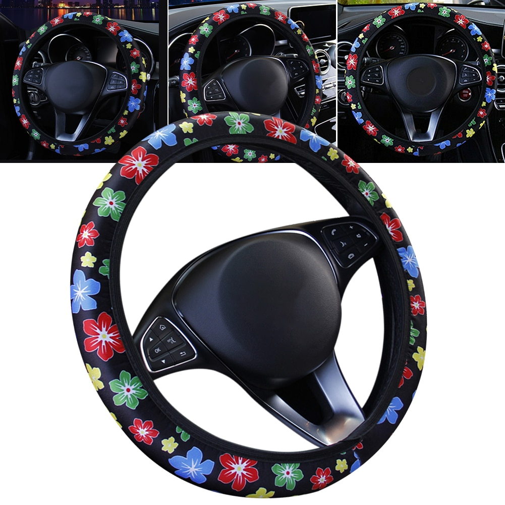 38CM Floral Steering Wheel Cover for Girls Milk Slik Stretchy Steering Wheel Cover Car Accesories Interior Decoration Wholesale