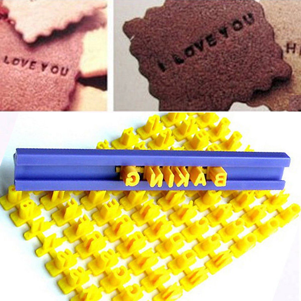 Alphabet Letter Number Cookie Press Stamp Embosser Cutter Fondant Mould Cake Baking Molds Tools Round Cutter Stencil Cookies