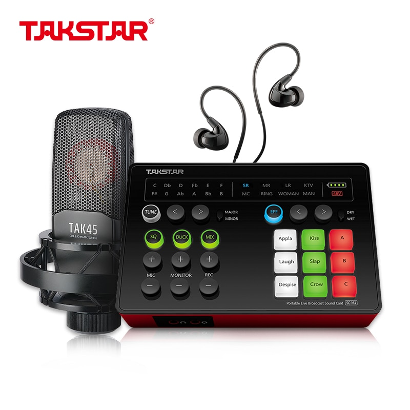 Takstar-Juego de tarjeta de sonido para transmisión en vivo, Condensador Profesional para...