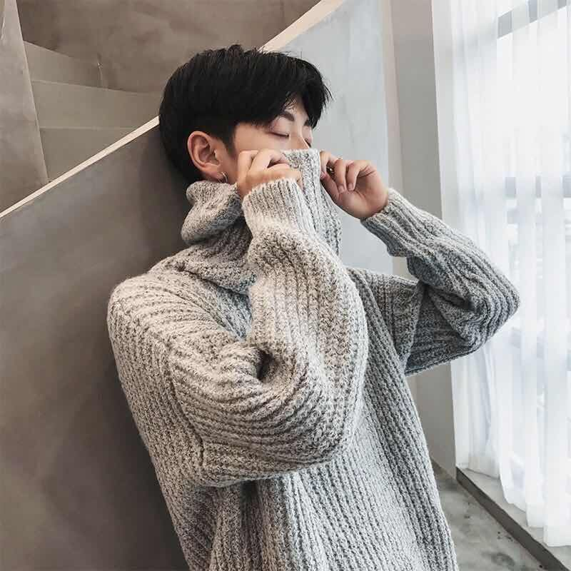 Autumn And Winter Turtleneck Sweater Men's Wild Knitted Jacket Solid Warm Slit Wear Pullover Fashion Top
