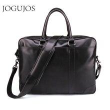 JOGUJOS Upgrade Black Mens Briefcase Genuine Leather Men Business Briefcase Computer Laptop Handbag Man Shoulder Messenger Bags