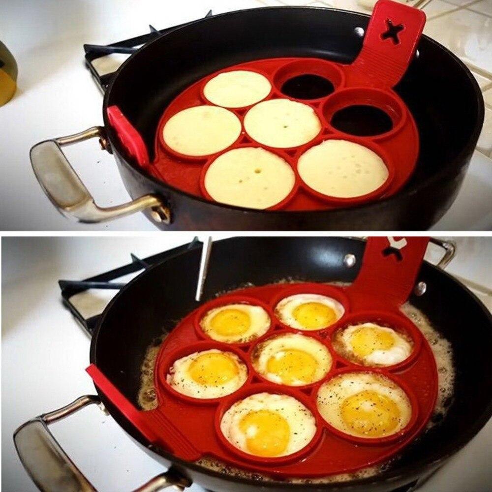 Antiadherente panqueques de molde de huevo de silicona anillo cuadrado corazón Ronda 4/7/10 agujeros huevos fritos molde de cocina que cocina la herramienta