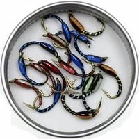 50pcs 12 multiple color epoxy midge buzzer nymph fly trout fishing lure bait insect red orange blue black uv hegene flies
