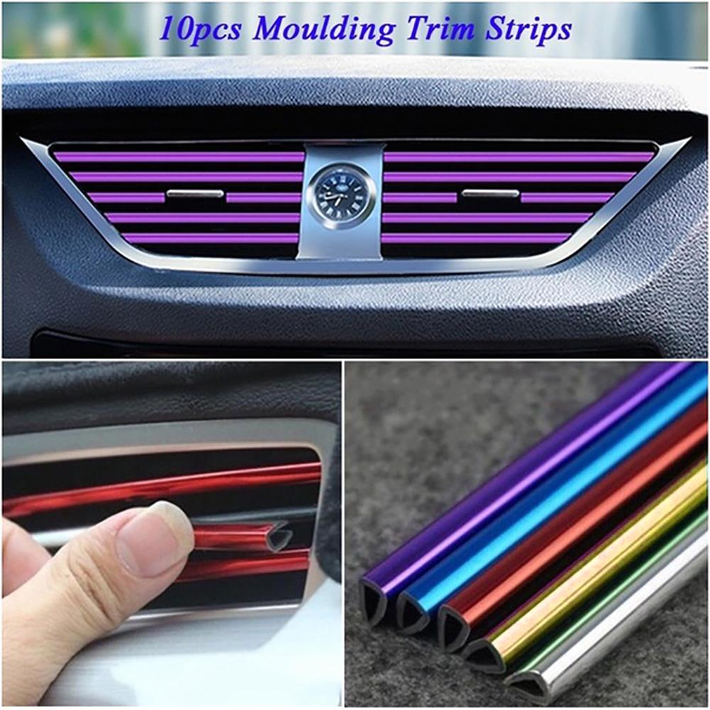 DIY 10 piezas 20cm Car-styling forma Interior moldura coche embellecedor de rejilla de ventilación tira aire acondicionado salida parrilla decoración forma U