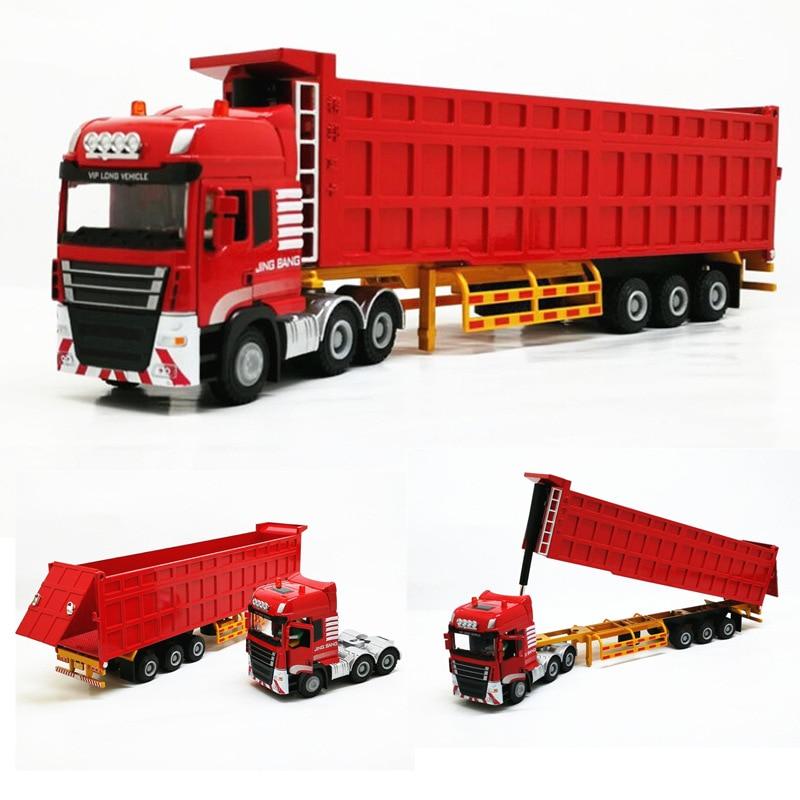 Boxed Jingbang Semi-trailer Heavy Truck Dump Truck Alloy Transporter Model 1:50 Toy