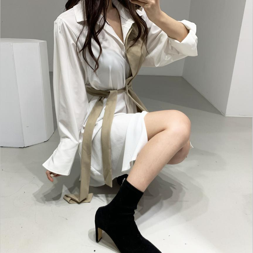 CMAZ dress for women elegant 2021 summer  long sleeve shirt dress 55816#