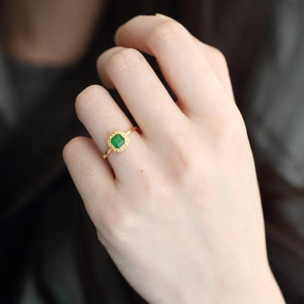 LAMOON, Plata de Ley 925, Jadeíta verde Natural, estilo Retro, enorme octogonal, joyería fina chapada en oro de 10K S925 LMRI097