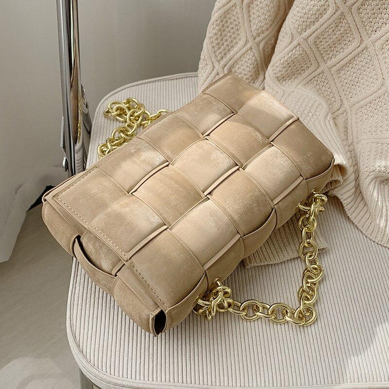 Nubuck Leather Weave Crossbody Bag for Lady New PU Leather Women's Designer Handbag Square Shoulder Messenger Bag Female