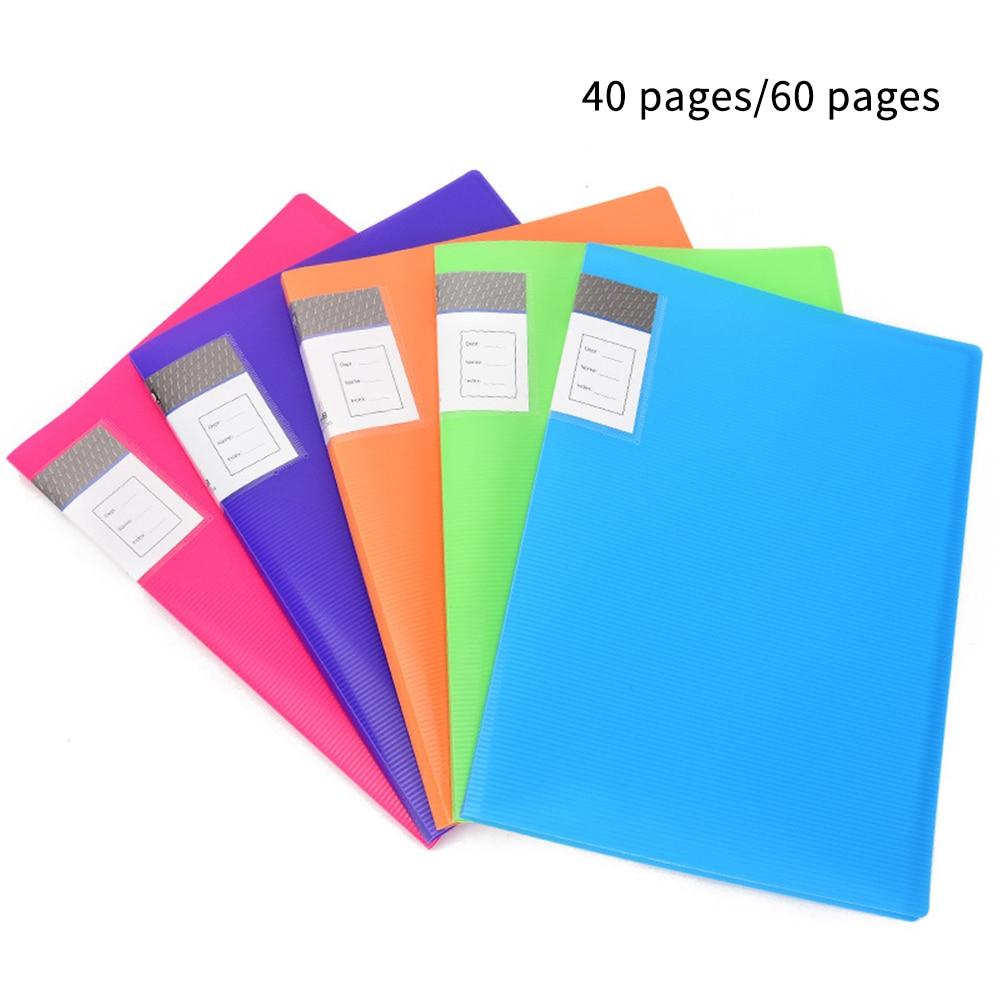 Carpeta de inserción de 40/60 páginas de libro de exhibición A4 para el folleto de archivo de almacenamiento de documentos de la Escuela de oficina Color al azar