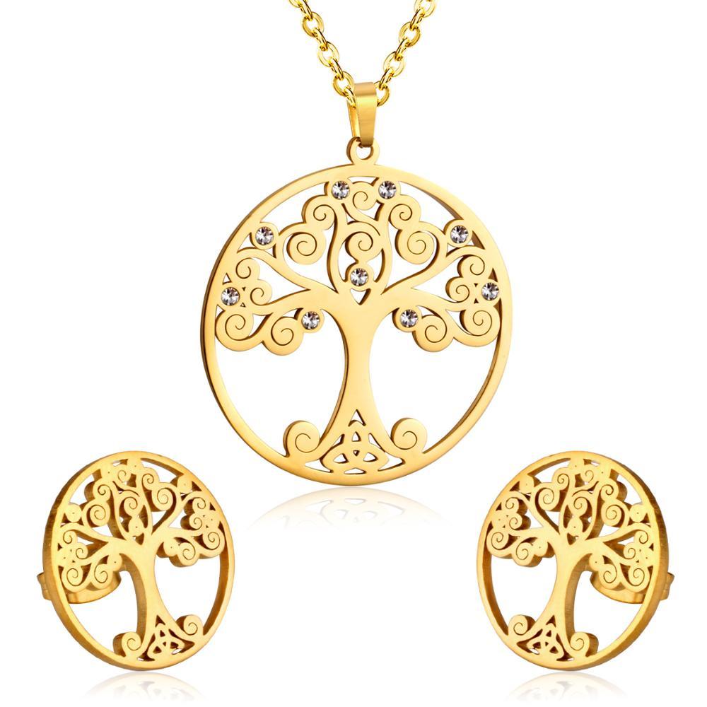Комплект ювелирных изделий для женщин, Золотой Рождественский комплект ювелирных изделий