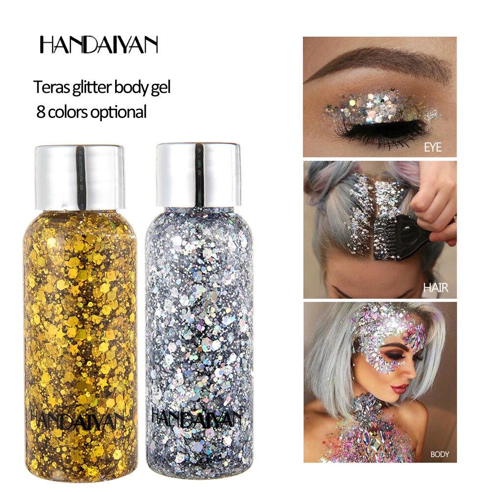 9Color Eye Glitter Nail Body Hair Face Glitter Gel Art Flash Heart Sequins Loose Cream Glitter Festival Decoration Festval Party недорого