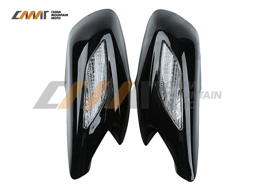 Espejo retrovisor negro Cristal de señal intermitente transparente para Honda ST1300 2002-2011