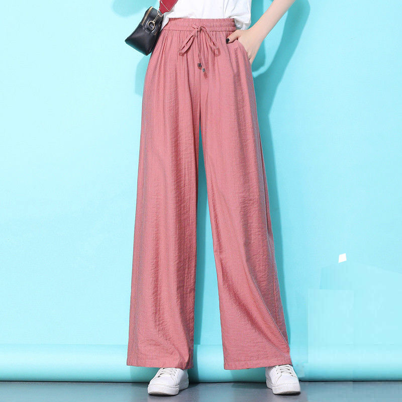 Новинка лета 2021, свободные широкие брюки с высокой талией, женские брюки из вискозы, тонкие прямые повседневные брюки большого размера