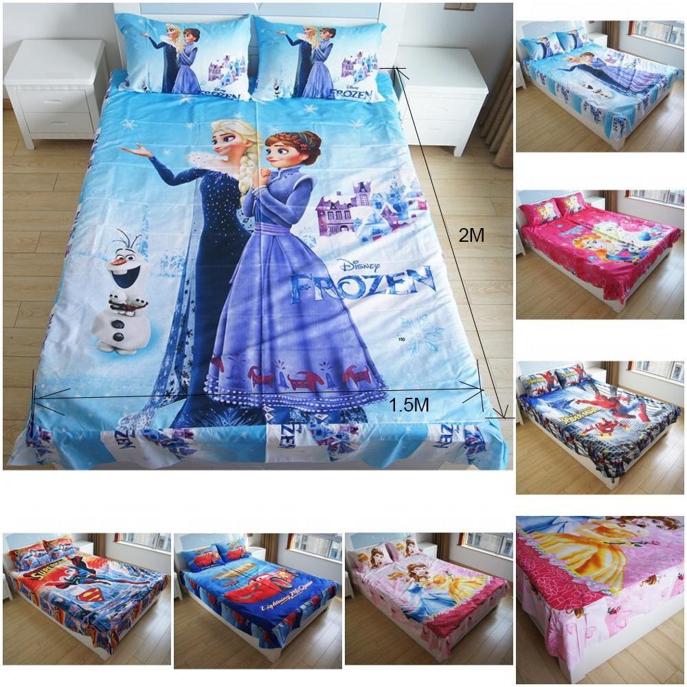 Nuevo congelados Esla Anna Bella princesa ropa de cama Juegos de Spiderman enredado cama hoja plana con volantes fundas de almohada para niños niñas