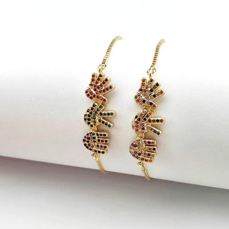 10 piezas románticas de alta calidad Micro pavé Arco Iris CZ cristal Palma encanto pulsera para mujeres joyería regalo BG330