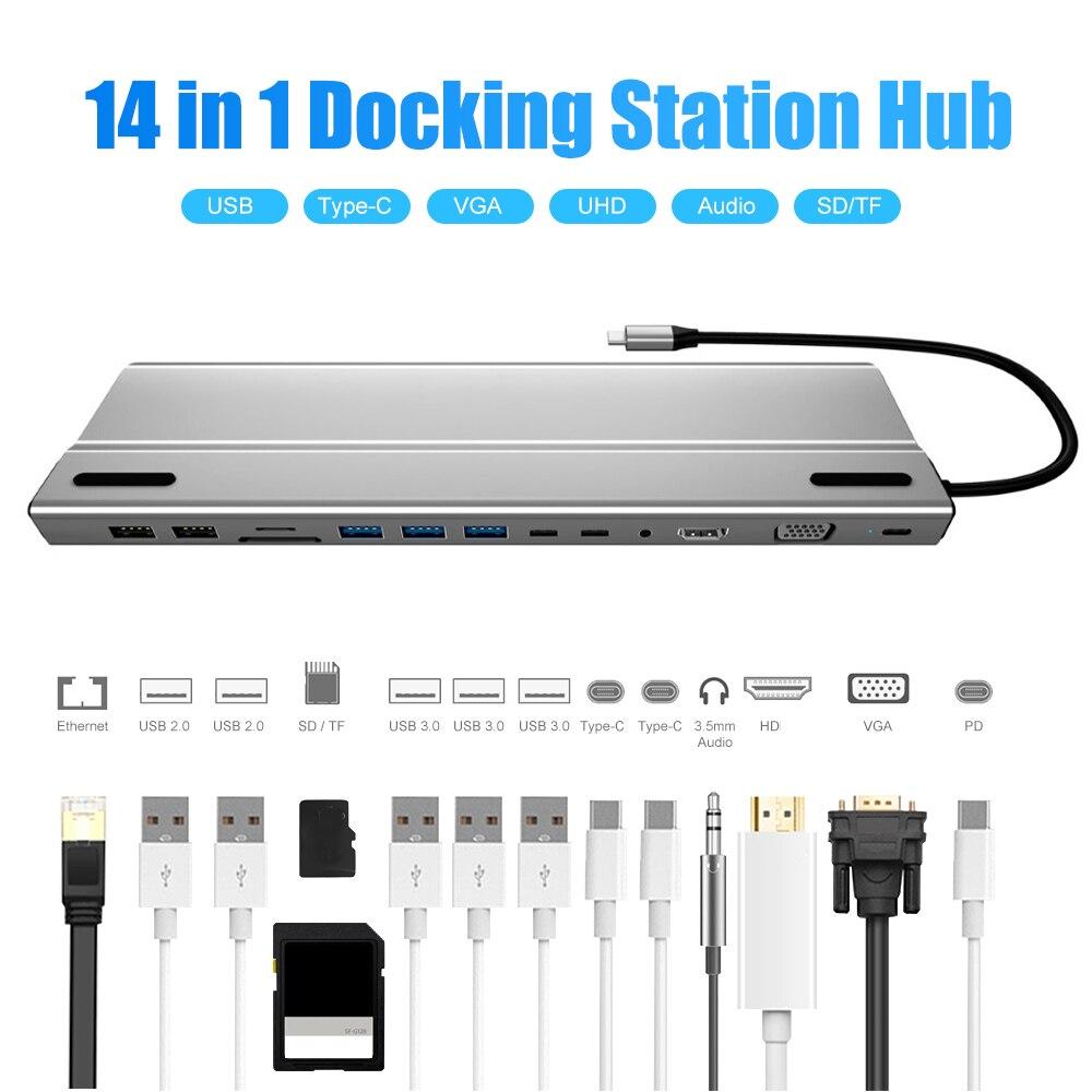 14 في 1 نوع-C محطة الإرساء USB 3.1 إلى HDMI-متوافق SD/TF قارئ بطاقات HUB ل الهواتف المحمولة أقراص كمبيوتر محمول