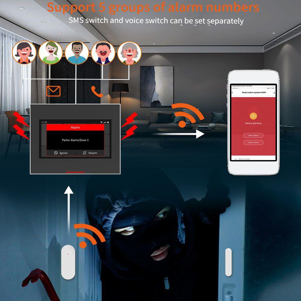 Staniot 433MHz Tuya Smart Life Wireless Wifi GSM Factory & Home Burglar Alarm Kits Support Preset 5 Groups Alarm Phone Numbers enlarge