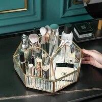 casegrace luxury rotating glass makeup box cosmetic storage box jewelry brush pencil lipstick holder make up tool case organizer