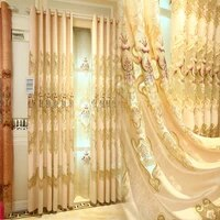 2021 new european style sunil large hollow water soluble embroidery curtains for living dining room bedroom