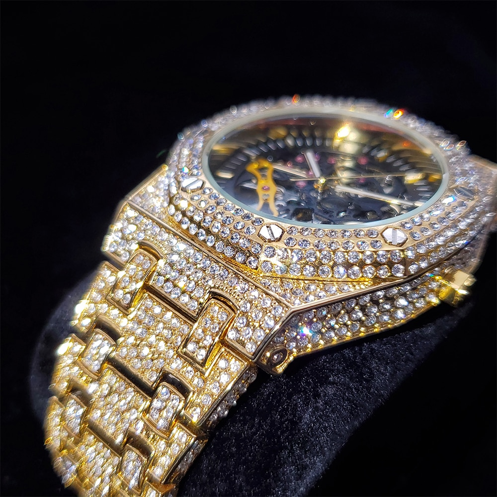 Hip Hop Hollow Men Watches Gold Iced Out Automatic Mechanical  Full Diamond Watch AAA Dress Stainless Steel Clocks Dropshipping enlarge
