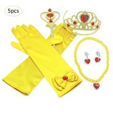 5 قطعة/المجموعة الأطفال الأصفر الأميرة اللباس اكسسوارات فستان مناسبات يصل الطفل الجمال تاج الصولجان قلادة القرط قفازات