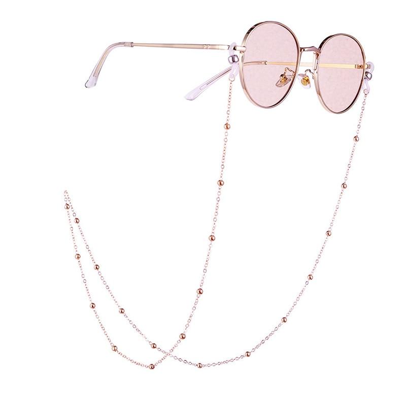 70cm Elegant Eyeglass Chain Sunglasses Reading Beaded Glasses Chain Eyewear Rope Lanyards Rose Gold