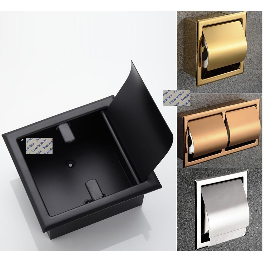 304 جدار فولاذي مقاوم للصدأ راحة المدمج في ورق تواليت لفة بكرة حامل الورق ارتفع الذهب ماتي الأسود مصقول