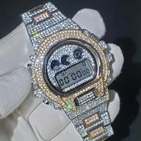 hiphop missfox military watch men full diamond male sport digital watch led electronics male clock stainless steel wristwatches
