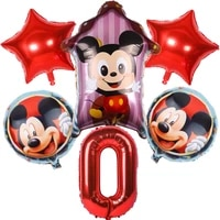1set disney mickey minnie cartoon theme aluminum foil number balloons kids birthday party decorations supplies kids favors gifts