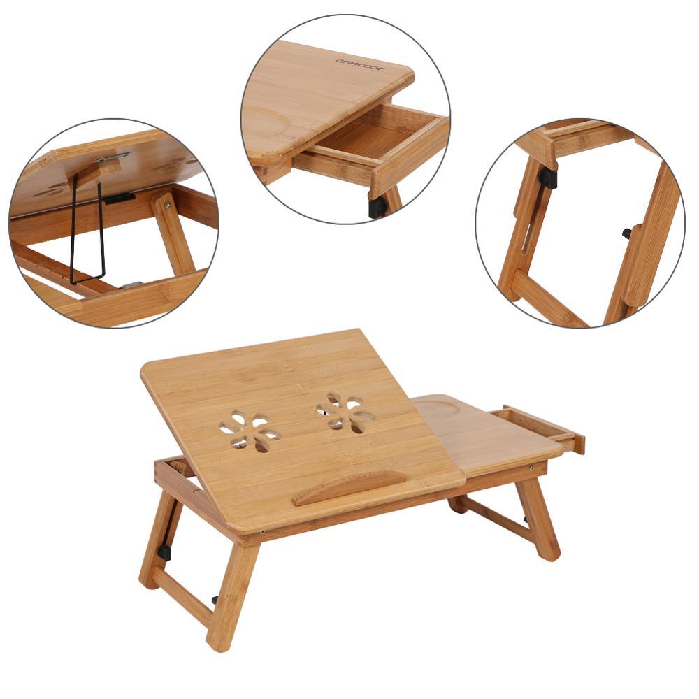 Plegable portátil de bambú ajustable ordenador portátil Notebook estudio mesas Escritorio