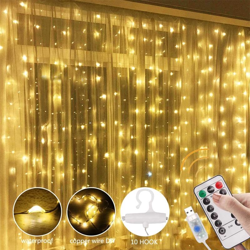 3 м светодиодный гирляндой гирлянда Шторы лампы дистанционного Управление USB гирлянды новогоднее; Рождественское украшение для дома Спальня окна