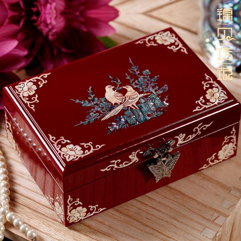 أم اللؤلؤ ورنيش صندوق مجوهرات صغير خشب متين حلية مجوهرات شهادة صندوق هدية الزفاف