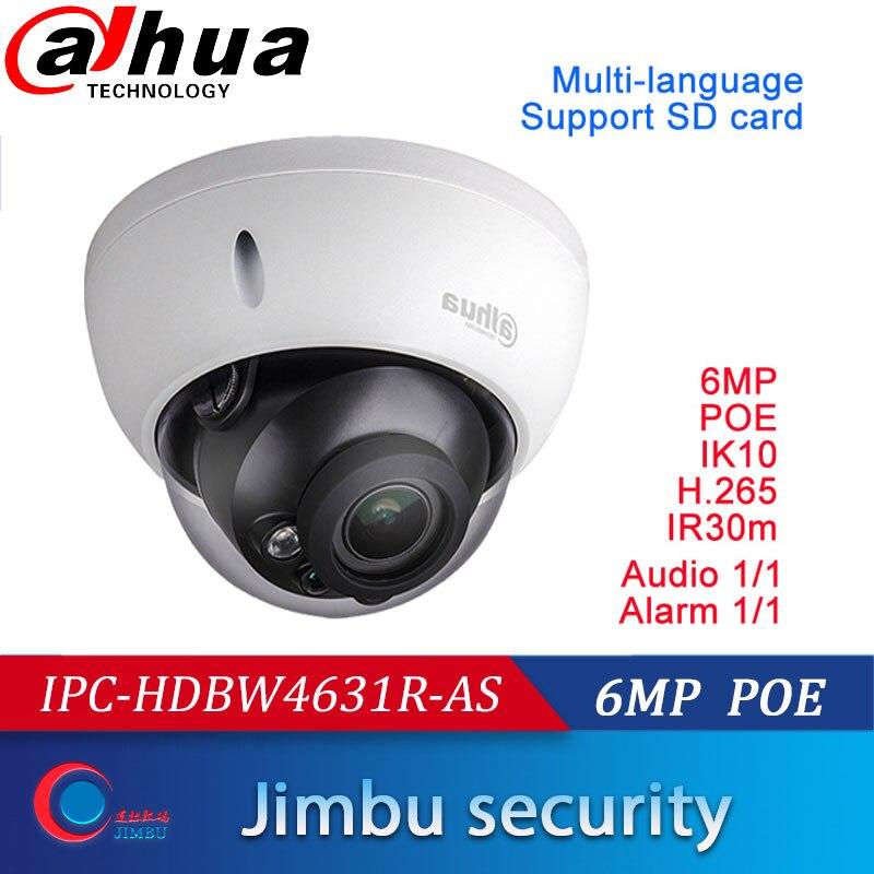 Dahua 6MP POE H.265 IPcamera multi-idioma IPC-HDBW4631R-AS IK10 IP67 Audio y alarma in/out IR30m IP Cámara soporte tarjeta SD