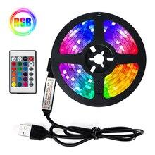 LED Strip Lights RGB SMD2835 IR Remote DC5V 1M 2M 3M 4M 5M USB Flexible Lamp Tape Diode TV wall deco