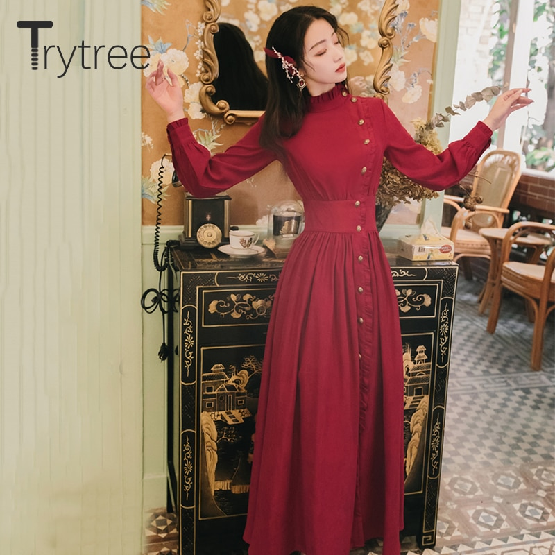 Trytree 2020 Autumn Winter Casual Women's Dress Corduroy Stand Collar Side Buttons Puff Sleeve Ankle-Length A-line Vintage Dress