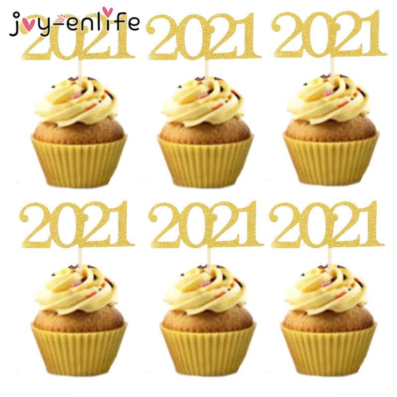 Decoración de tartas de Año Nuevo, decoración de magdalenas de oro 2021,...