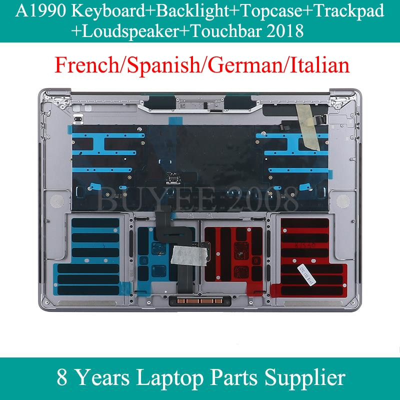 غلاف علوي مزود بلوحة مفاتيح لجهاز Macbook Pro A1990 ، Azerty ، الفرنسية ، الإسبانية ، الألمانية ، الإيطالية