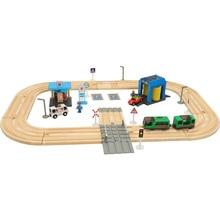 Детский Электрический поезд трек Набор строительных блоков трек магнитная машина игрушка мальчик трек игрушки АЗС Автомойка комната сцена
