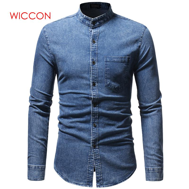2020 Spring Autumn High Quality Denim Shirt Men Casual Long Sleeve Fit Slim Personality Pocket Black Blue Hombre Blouse
