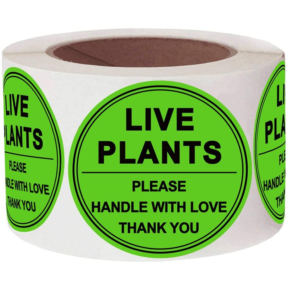 2 Inch Live Plants Handle with Love Stickers Green Fragile Handling Shipping Warehouse Pallet Stickers 250 Adhesive Label