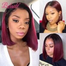 Short Bob 4×4 Lace Closure Wig 1B 99J Straight Burgundy Lace Front Wig Human Hair Brazilian Remy Ha