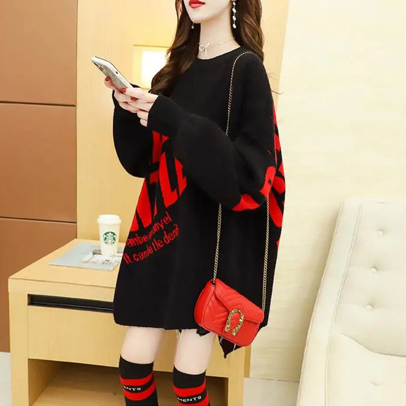 Irregular Sweater Women 's Middle and Long Style Autumn Winter 2020 New Loose Japanese Style Lazy Wind Wearing T-shirt Coat Fash enlarge