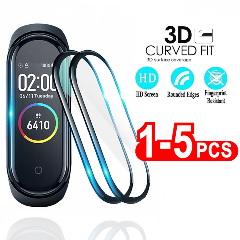 3D Protective Glass for Xiaomi mi band 5 film Protector for Mi band 4 Smart Watchband 4 Screen Protector miband4 Glass Film 5pcs full cover screen protector film on for xiaomi mi band 4 5 smart wristband bracelet protective glass films for mi band 4 5