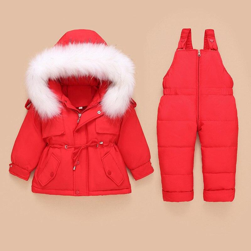 -25 درجة روسيا الشتاء طفل الاطفال فتاة مجموعة ملابس بطة أسفل سترة بذلة يندبروف الفتيان تزلج دعوى الاطفال الطفل معطف TZ171