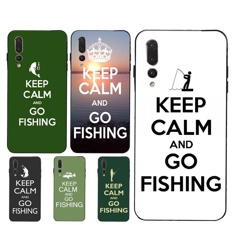 Garder le calme et aller à la pêche étui pour Huawei P30 P10 Lite P40 P20 Pro P Smart 2019 Z Mate 10 20 Lite 30 Pro Coque