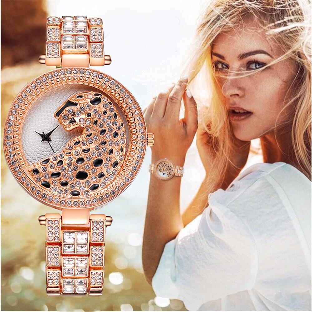 Reloj de cuarzo con leopardo de oro rosa para mujer, decoración y...